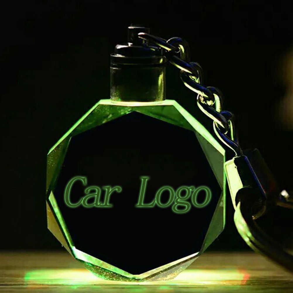 35 نماذج مضيئة مفتاح سلسلة شعار LED قطع الزجاج شعار سيارة حلقة رئيسية حامل ل Au-di V-W بن zs فورد BM Ws شعار سيارة مفتاح سلسلة