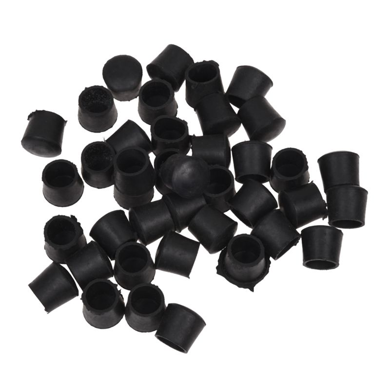 ABFU- 40 Pcs Black Rubber Chair Table Feet Pipe Tube Tubing End Caps 14mm