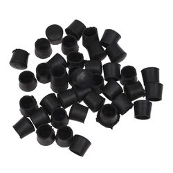 ABFU 40 szt. Czarna guma krzesło stół stopy rury rury rury zaślepki 14mm na