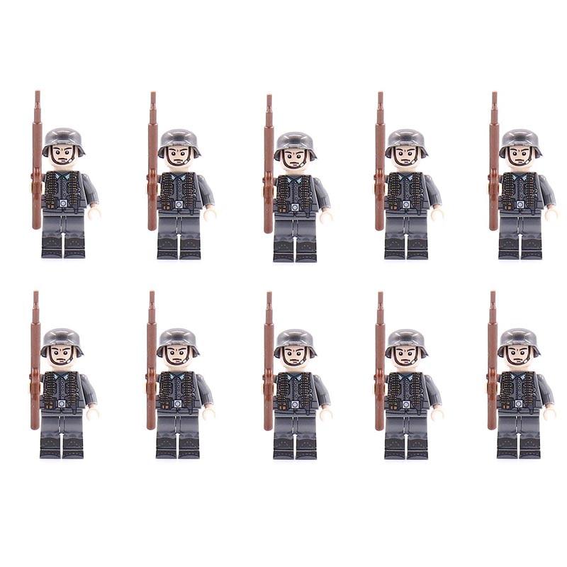 10PCS LegoINGlys Military Swat German Soldier Minifigure WW2 Weapson Bricks Building Blocks Model Toys For Boys Children Gifts