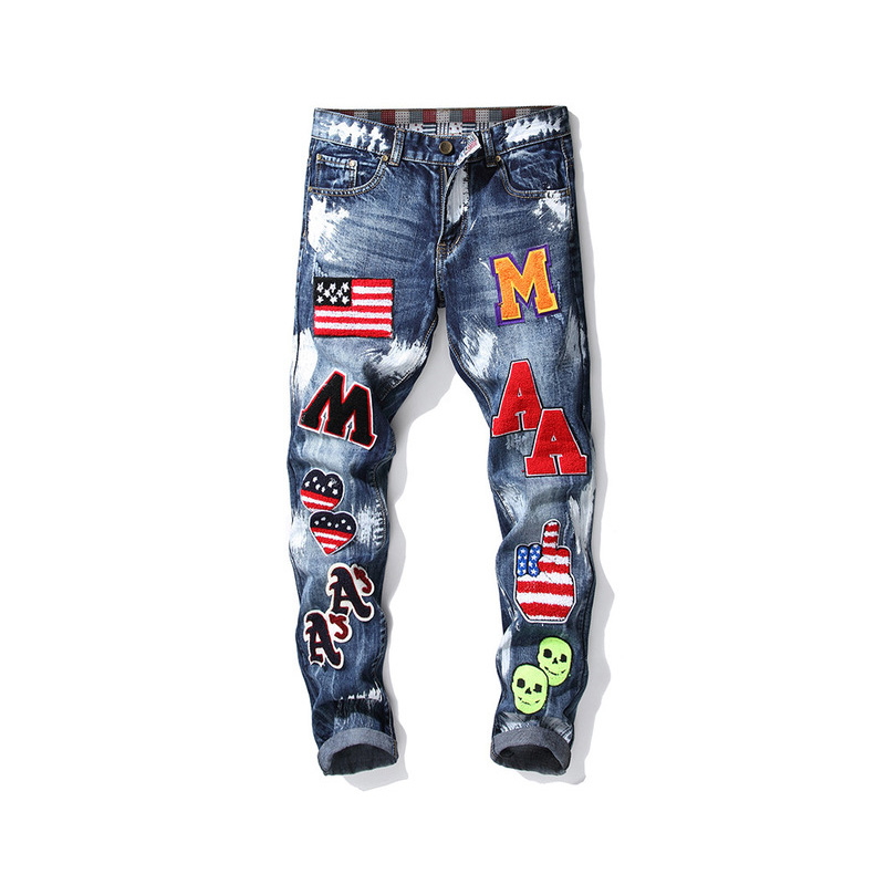 New Autumn Winter Small Straight Alphabet Embroidery Flag Badge Paint Men Slim Without Bullet Jeans Trend Men's Pants