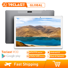 Teclast M30 4GB RAM 128GB ROM 10.1 นิ้วแท็บเล็ตพีซี Android 8.0 2560x1600 MT6797 X27 Deca core 4G โทรศัพท์แท็บเล็ต PC 7500mAh GPS