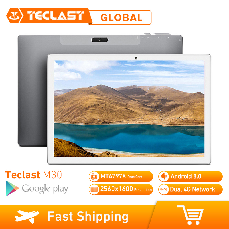 Teclast M30 4GB RAM 128GB ROM 10.1 Inch Tablet PC Android 8.0 2560 x 1600 MT6797 X27 Deca Core 4G Phone Tablet PC 7500mAh GPS image
