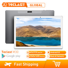 Teclast M30 4GB RAM 128GB ROM 10.1 Inch Tablet PC Android 8.0 2560x1600 MT6797 X27 Deca core 4G Telefoon Tablet PC 7500mAh GPS(China)