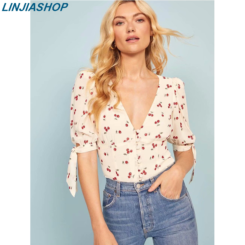 Elegant Women's Summer Blouses And Shirt V Neck Short Sleeves With Straps Loose Sexy Summer Crop Top Cherry Print Shirt Women