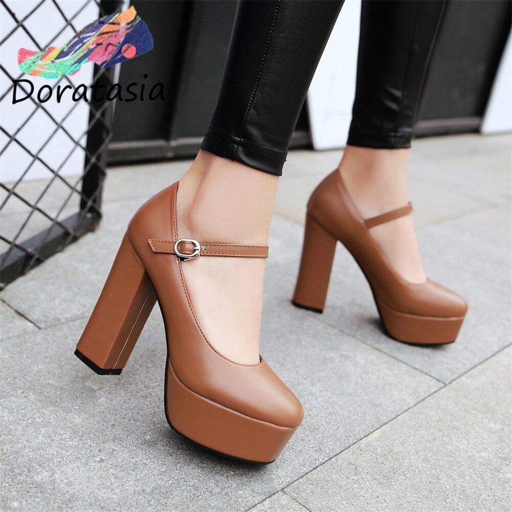 DORATASIA Spring Hot Sale Girl Fashion 12 Cm High Heels Pumps Elegant High Platform Pumps Women Ol Shallow Shoes Woman