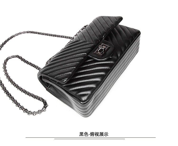 2019 Fashion Quilted Leather Chain Handbag Womens Luxury Shoulder Bags Branded Famous Black Double Flap Crossbody Bag for Women (37)