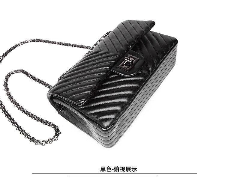 2019 moda acolchoado couro corrente bolsa feminina