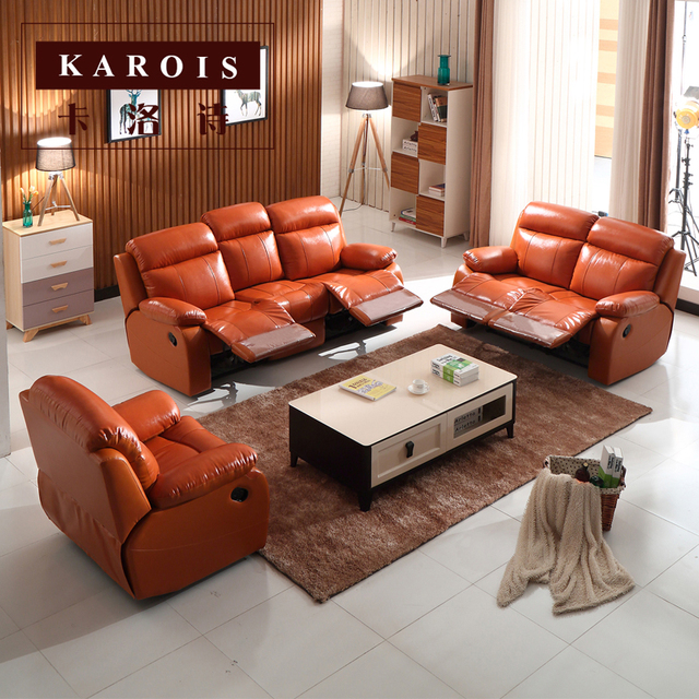 Leather Recliner Home Theater Sofa Set 2