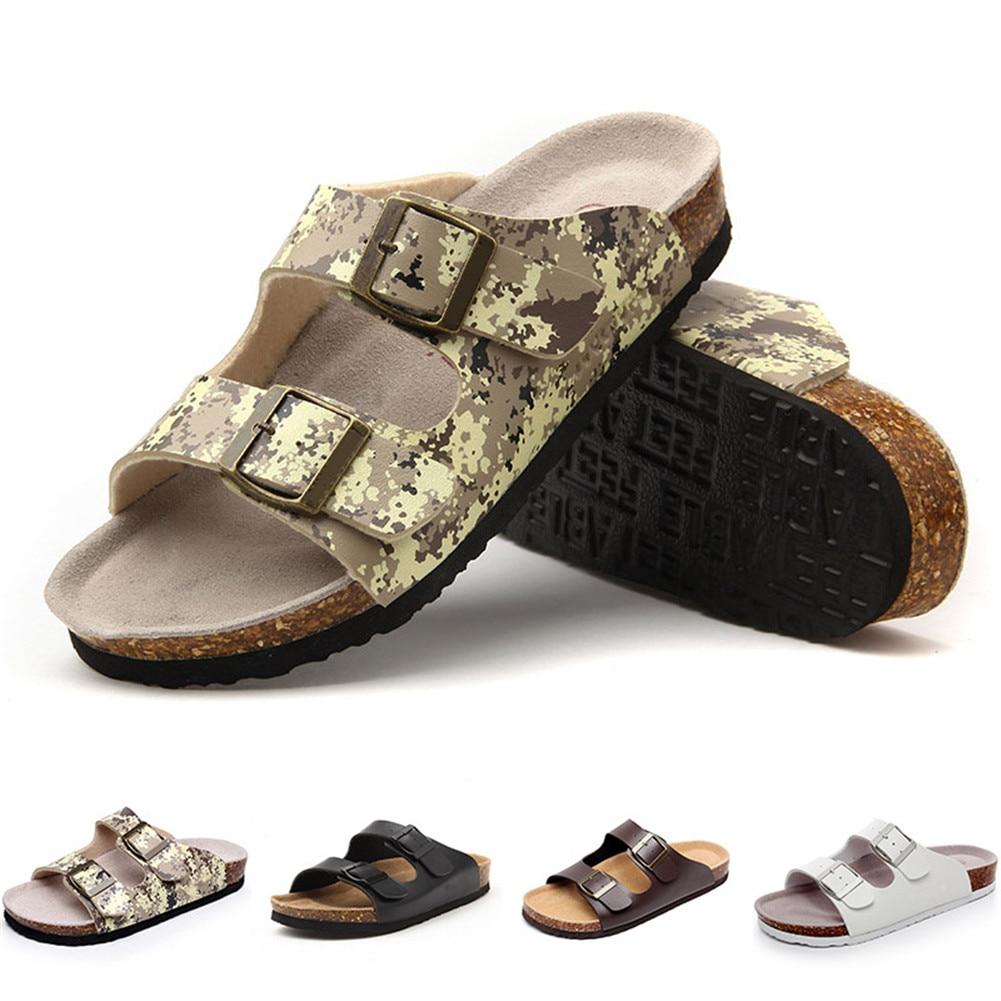 NEW 2-Strap Adjustable Buckle Flat Casual Sandals Slide Cork Footbed Sandals For Men Women