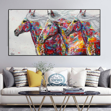 Animal Posters and Prints Graffiti Street Art Three Running Horse Canvas Painting Wall Pictures For Living Room Modern