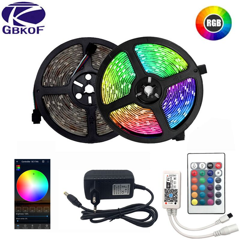 LED Strip Light RGB 5050 SMD 2835 Flexible Ribbon Fita Led Light Strip RGB 5M 10M 15M Tape Diode DC 12V+ Remote Control +Adapter