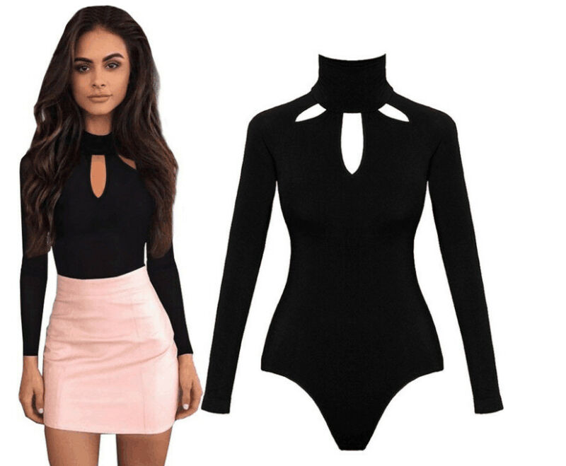 Elegant Turtleneck Knitted Bodysuit Women Black Long Sleeve Rompers Women One Pieces Bodysuits For Women Autumn Casual Clothing
