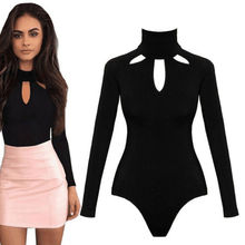 Elegant Turtleneck Knitted Bodysuit Women Black Long Sleeve Rompers Women One Pi