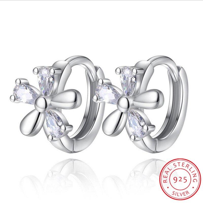 Exaggerated 925 Sterling Silver CZ Plum Blossom Flower Hoop Earrings For Women Girl Fashion Piercing Huggie Earring Oorbellen