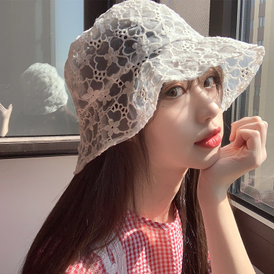 Hat Women's New Lace Fisherman's Hat All-around Trend Summer Thin Flower Hollow Sun Hat