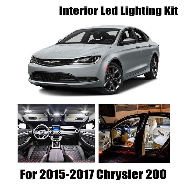 9pcs White Canbus LED Interior Light Map Dome Bulbs Kit Fit For 2015 2016 2017 Chrysler 200 Reading Ceiling TrunkLicense Lamp 1