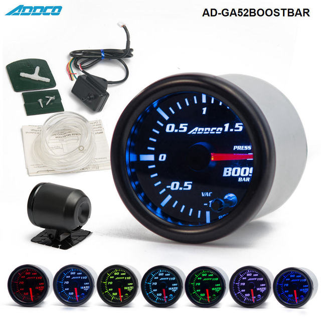 """2"""" 52mm 7 Color LED Smoke Face Car Auto Bar Turbo Boost Gauge Meter With Sensor and Holder AD GA52BOOSTBAR"""