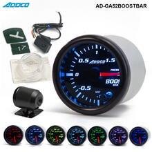 """2 """"52mm 7 Farbe LED Rauch Gesicht Auto Auto Bar Turbo Boost Gauge Meter Mit Sensor und Halter AD GA52BOOSTBAR"""