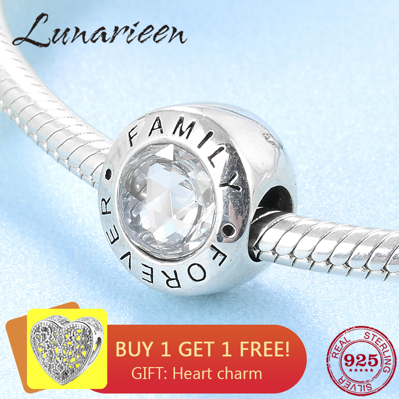 New Fashion trend 925 Sterling Silver clear CZ Forever family fine beads Fit Original Pandora Charm Bracelet Jewelry making(China)