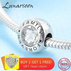 Yeni Moda trendi 925 Ayar Gümüş temizle CZ Sonsuza aile güzel boncuk Fit Orijinal Pandora Charm Bilezik Takı yapımı