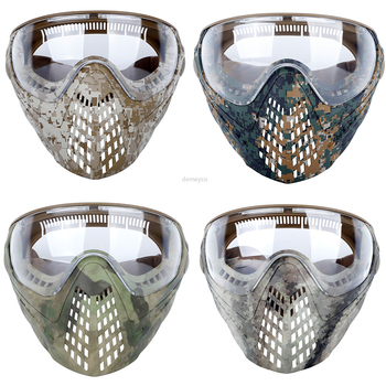 airsoft paintball mask safety protective anti fog goggle full face mask with black yellow clean lens tactical shooting equipment Camouflage Tactical Mask Airsoft Paintball Shooting Combat Masks Hunting Safety Goggle Full Face Mask with 3 Lens
