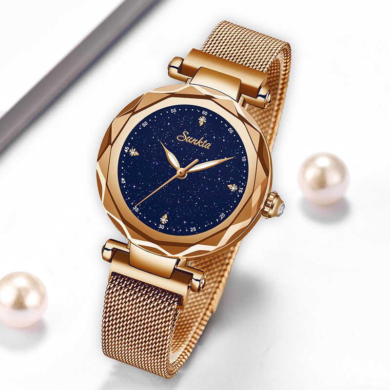 SUNKTA nowe luksusowe kobiety zegarki Magnetic gwiaździste niebo kobieta zegar zegarek kwarcowy zegarek mody panie zegarek na rękę zegarek damski