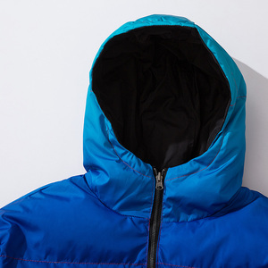 Image 4 - Men Hip Hop Winter Hooded Jacket Reversible 2019 Streetwear Gradient Color Padded Parka Harajuku Puffer Coat Windbreaker Outwear