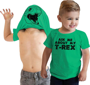 Футболка с откидной крышкой и надписью «Ask Me About My T Rex» Детская забавная футболка с рисунком динозавра модная Забавная детская одежда для мал...