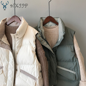 Image 4 - 2019 Winter Jacke Neue Schlanke Gestreifte Vertikale Kragen Spitze Verdickt Unten Baumwolle weste frauen Weste Mantel 3059.