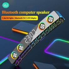 Clock Bluetooth Wireless Game Speaker soundbar 3D Stereo Subwoofer,Computer Loudspeaker with light,soundbar for tv home theater