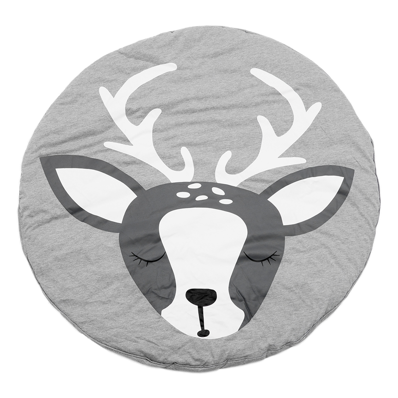 90CM Kids Play Game Mats Round Carpet Rugs Mat Cotton Crawling Blanket Floor Carpet For Kids Room Decoration INS Baby Gifts Deer