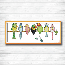 Colorful Parrots animal birds cartoon Decor counted printed on canvas DMC 11CT 14CT kits Cross Stitch embroidery needlework Sets stamped cross stitch kits joy sunday oil painting girl printed 11ct 14ct counted home decor embroidery handmade needlework sets