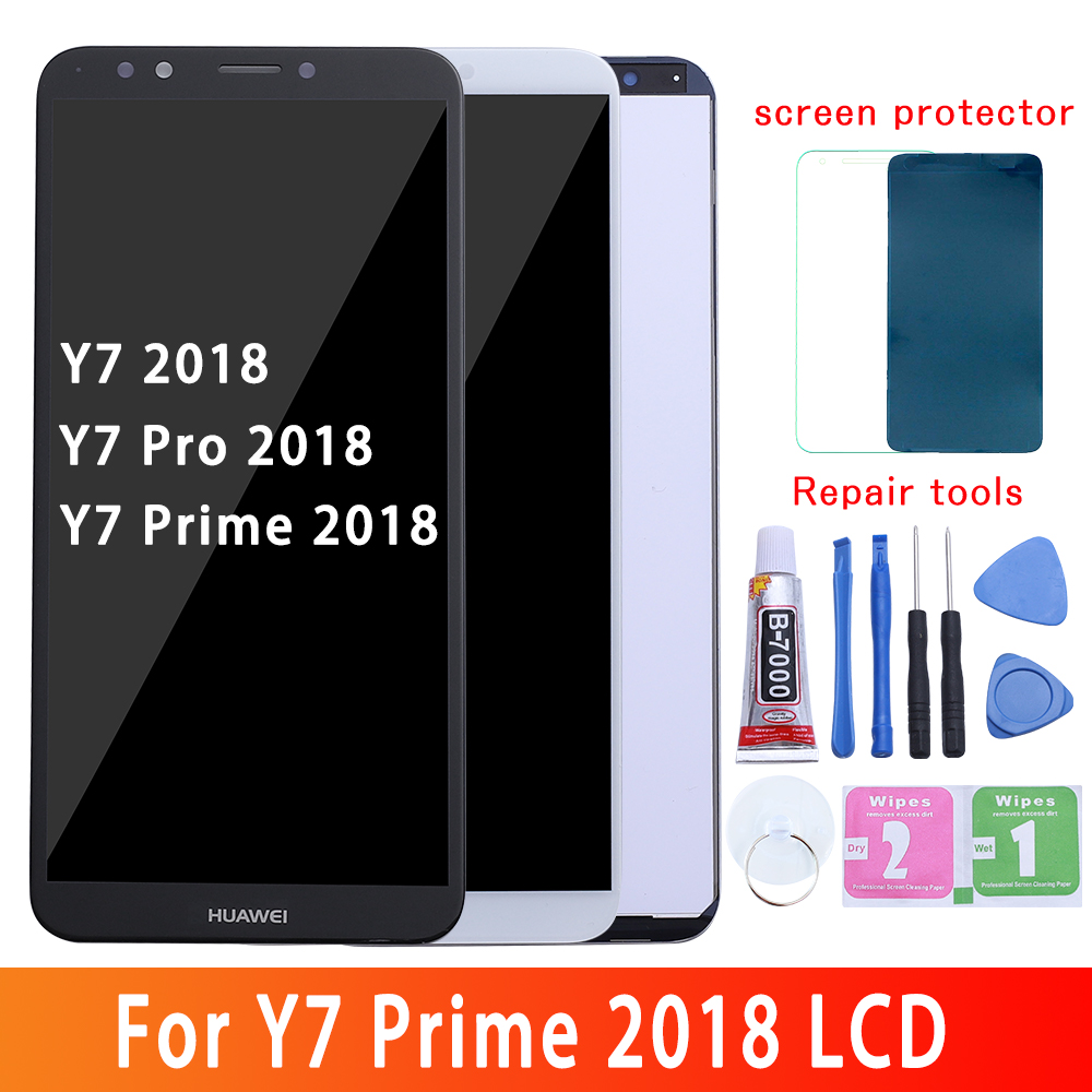 HUAWEI Y7 2018 LCD Display Touch Screen For Huawei Y7 Pro 2018 LCD With Frame Y7 Prime 2018 Screen LND L22 LX2 L21 L23 LX1 L29