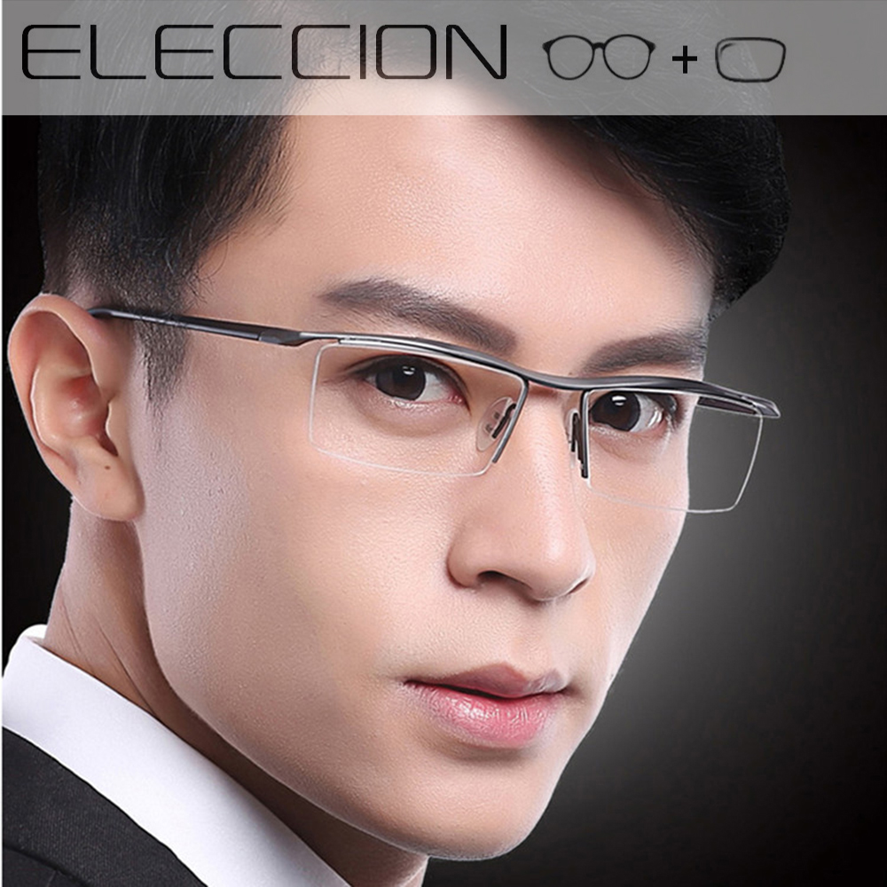 ELECCION Titanium Alloy Prescription Eyeglasses Men's Corrective Dioptric Glasses Metal Optical Eye Frame Photochromic Glasses image