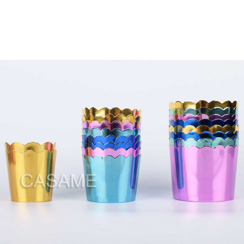 50pcs Gorgeous big foil Cupcake paper Holders wedding decorations Wrapper Wraps cake box Muffin Paper Holders case image