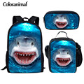 Coloranimal 3D Динозавр/акула школьный рюкзак Детская школьная сумка старшеклассник школьный комплект рюкзаков для книг сумки детский Ранец