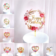 New Rose Flowers Happy Birthday Acrylic Cake Toppers Gold Birthday Cake Topper Decor for Wedding Birthday Party Cake Decorations