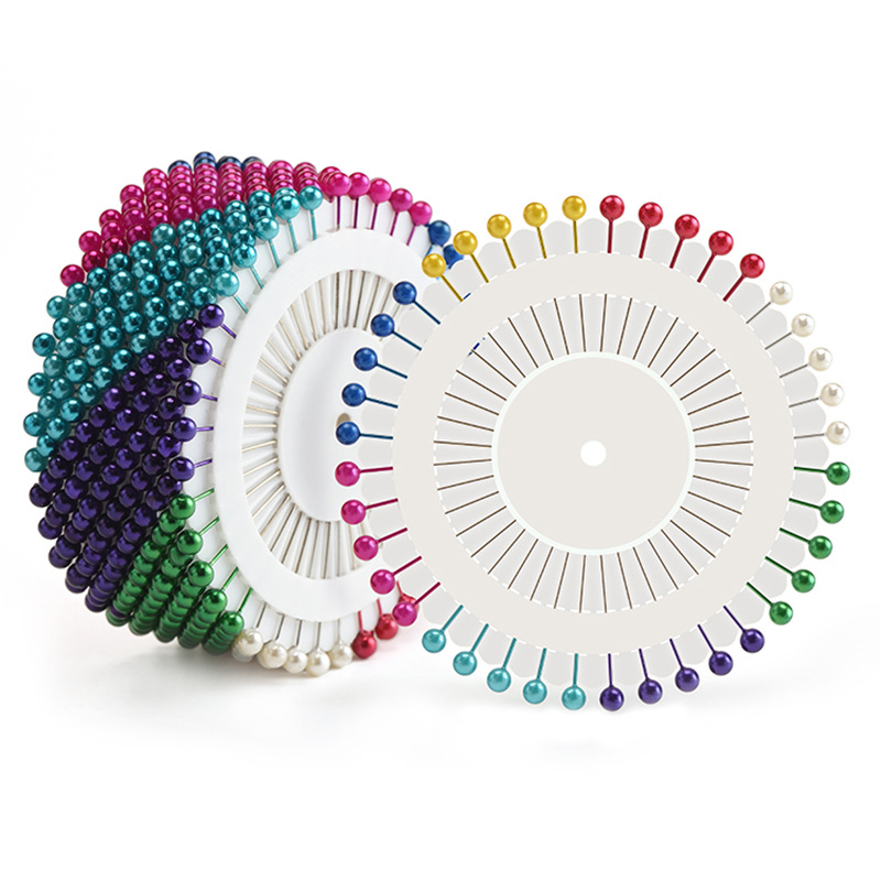 Head pins 480 PCS Pins Colors Round Pearl Straight Positioning Needles with Colorful Beads