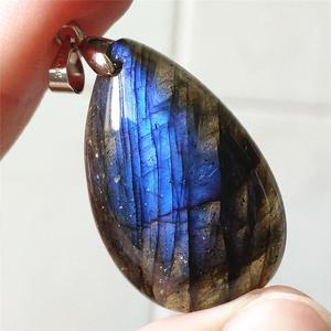 Image 5 - Подвеска из натурального Лабрадорита, синий светильник, Женский драгоценный камень, для женщин и мужчин, водный лунный камень, 33x20x9 мм, Кристальное ожерелье, подвеска AAAAA