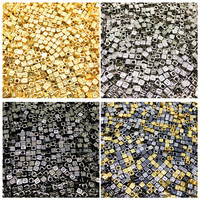 100pcs 6mm Gold/Black Acrylic Spacer Beads Letter Beads Square Alphabet Beads For Jewelry Making DIY Handmade Accessories