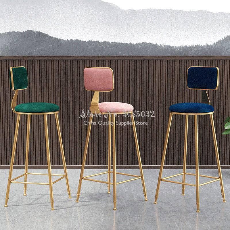 Simple Leisure Bar Chair Creative Bar Chair Nordic Bar Chair Net Red Chair High Stool Gold Back Bar Chair