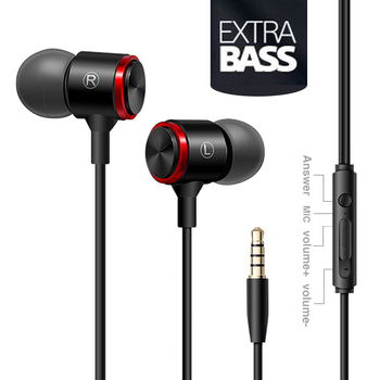 Mobile phone wire headset extra bass straight line PC subwoofer earphones in-ear metal sports music phone earphone with Mic anti skid in ear music headphone nylon wired earphone with braided wiring cord cable wire control subwoofer headset with wheat