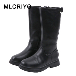 Winter Kids Knee High Boots Baby Girls Black Princess Boots Children Pu Leather Shoes Fashion Warm Boots Brand Casual Shoes New