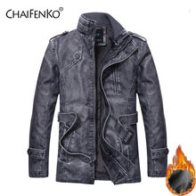 Chaifenko/зимняя Флисовая теплая мужская кожаная куртка мотоциклетная