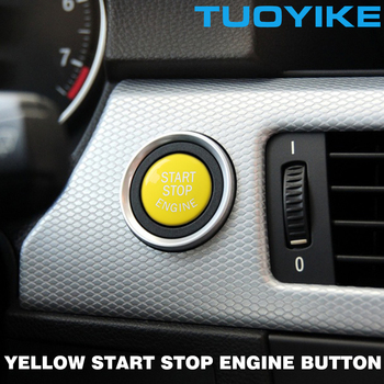 Yellow Car ENGINE START STOP Switch Push Button Replace Cover For BMW 3 5 Series E36 E90 E91 E60 X1 E84 X3 E83 X5 E70 X6 E71 E72 image
