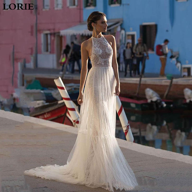 LORIE Mermaid Wedding Dresses 2019 Vestidos De Novia High Neck Lace Sexy Bridal Gown Detachable Train Boho Wedding Gowns