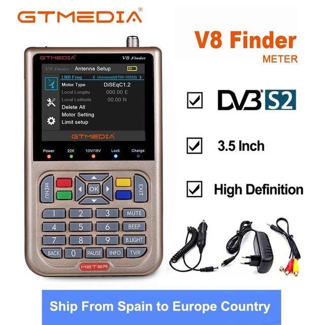 GTmedia Localizador satélite V8 Finder, dispositivo sintonizador de Receptor satélite DVB S2/S2X con pantalla LCD a Color de 3,5 pulgadas, DVB S2, HD