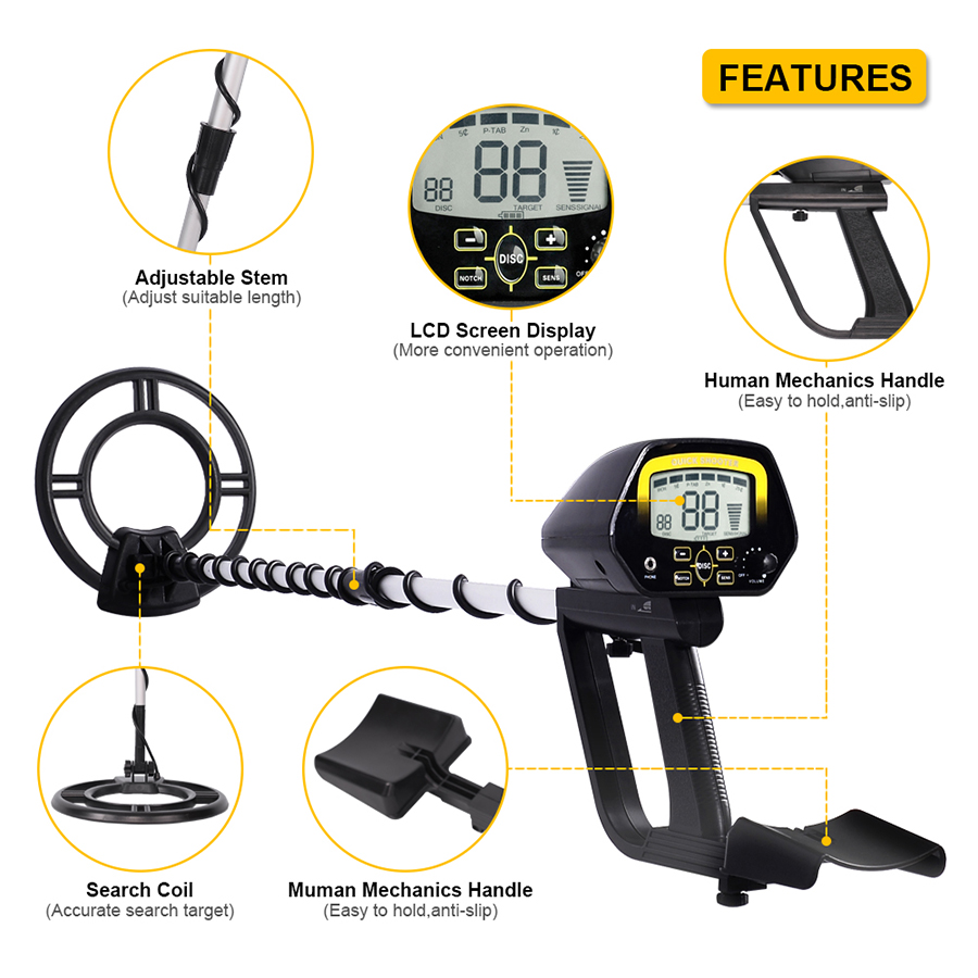 Tools : TIANXUN Metal Detector High Accuracy Adjustable Waterproof Search Coil Metal Detectors With LCD Display For Adults  amp  Kids