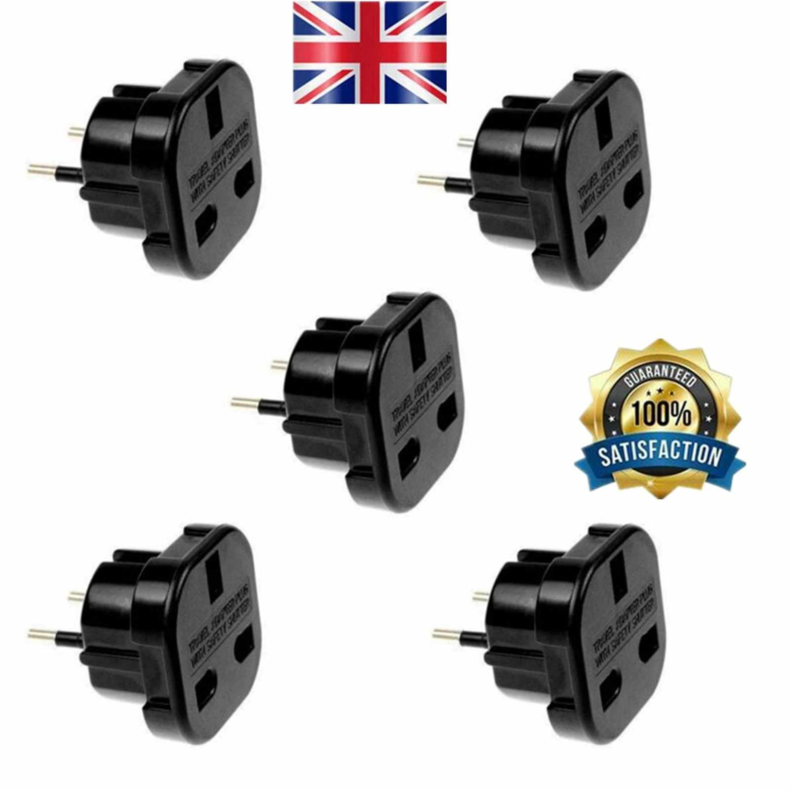 1Pcs Travel UK To EU Adapter Power Plug Converter 3 To 2 Pin Converter With Safety Shutter For Any European Destination